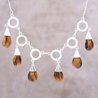 Tiger's eye pendant necklace, 'Delightful Dance' - Tiger's Eye Linked Pendant Necklace from India