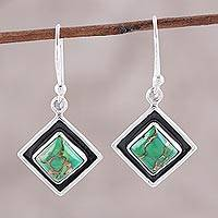 Sterling silver dangle earrings, 'Chic Kites' - Green Composite Turquoise and Silver Dangle Earrings