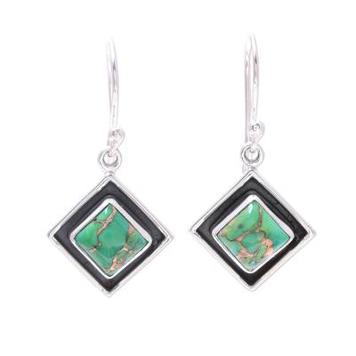 Green Composite Turquoise and Silver Dangle Earrings
