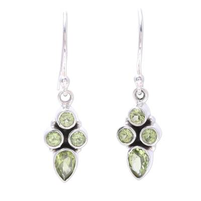 Green Peridot Dangle Earrings Crafted in India