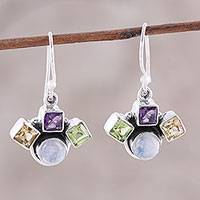 Multi-gemstone dangle earrings, 'Lovely Quartet' - Multi-Gemstone Dangle Earrings Crafted in India