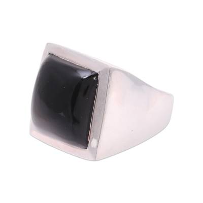 Onyx ring, 'Might' - Modern Black Onyx Ring Crafted in India
