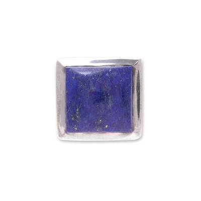Lapis lazuli ring, 'Might' - Modern Lapis Lazuli Ring Crafted in India