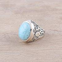 Larimar cocktail ring, 'Oval Enigma' - Larimar and Sterling Silver Cocktail Ring Crafted in India