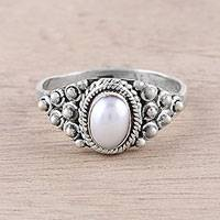 Cultured pearl cocktail ring, 'Peaceful Glow' - Dot Motif Cultured Pearl Cocktail Ring from India