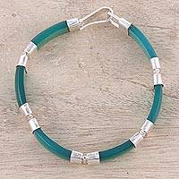 Onyx link bracelet, 'Sea Ribbons' - Handcrafted Green Onyx and Sterling Silver Link Bracelet