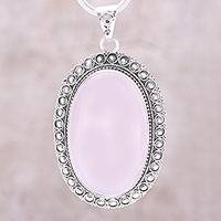 Rose quartz pendant necklace, 'Fairest Beauty' - Large Oval Rose Quartz and Sterling Silver Pendant Necklace
