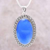 Chalcedony pendant necklace, 'Fairest Sky' - Large Blue Chalcedony and Sterling Silver Pendant Necklace