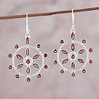 Garnet dangle earrings, 'Dazzling Wheels' - Wheel-Shaped Garnet Dangle Earrings from India