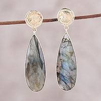 Gold plated labradorite dangle earrings, 'Northern Drops' - Gold Plated 28-Carat Labradorite Earrings from India