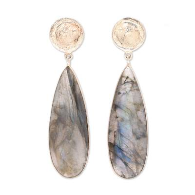 Gold accented labradorite dangle earrings, 'Northern Drops' - Gold Plated 28-Carat Labradorite Earrings from India