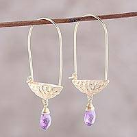 Gold plated amethyst dangle earrings, 'Mystical Boats' - Gold Plated Amethyst Hoop Dangle Earrings from India