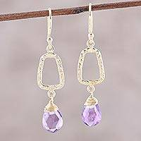 Gold plated amethyst dangle earrings, 'Dancing Frames' - 18k Gold Plated Amethyst Dangle Earrings from India