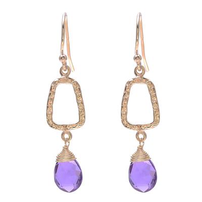 Gold plated amethyst dangle earrings, 'Dancing Frames' - 18k Gold Plated Amethyst Dangle Earrings from India