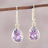 Gold plated amethyst dangle earrings, 'Fantastic Drops'