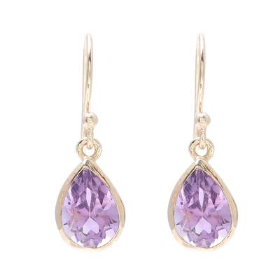 Gold plated amethyst dangle earrings, 'Fantastic Drops' - Gold Plated 4-Carat Amethyst Dangle Earrings from India