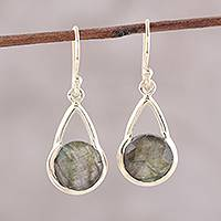 Gold plated labradorite dangle earrings, 'Fantastic Cradles'