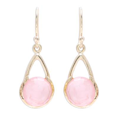 Gold plated rose quartz dangle earrings, 'Fantastic Cradles' - Gold Plated Rose Quartz Dangle Earrings from India