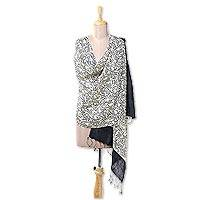 Silk shawl, 'Garden of Black Roses' - Handwoven Block Printed Silk Shawl in Black and Ivory