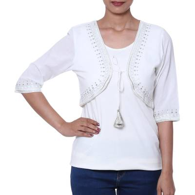 Cotton bolero, 'Zari Elegance in White' - White Cotton Bolero with Zari Embroidery from India