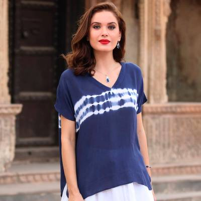 Tie-dyed viscose blouse, 'Eternal Indigo' - Tie-Dyed Viscose Blouse in Indigo from India