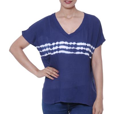 Tie-dyed viscose blouse, 'Eternal Indigo' - Tie-Dyed Viscose Blouse in Indigo from India