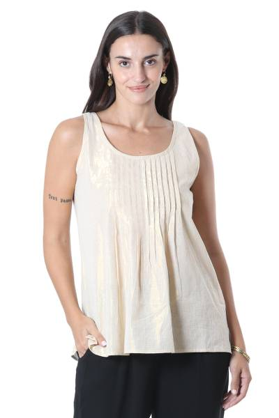 Cotton tank top, 'Golden Dazzle' - Shimmering Cotton Tank Top Crafted in India