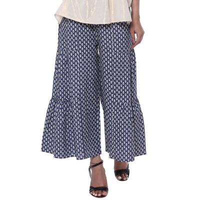 Viscose culottes, 'Floral Comfort' - Printed Floral Viscose Culottes in Blue from India
