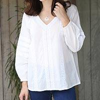 Cotton tunic, 'White Harmony' - Viscose Embroidered Cotton Tunic from India