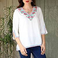 Viscose tunic, 'Floral Blast' - Floral Embroidered Viscose Tunic from India