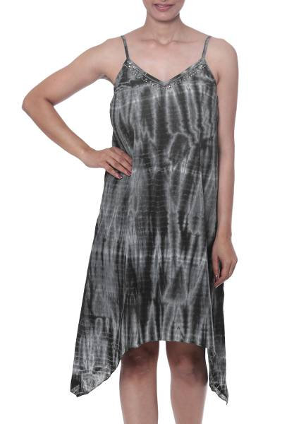 Tie-Dyed Cotton Dress in Dark Ivy from India