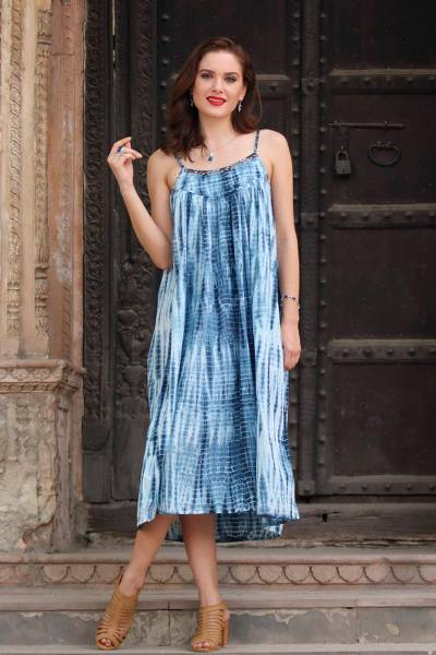 Tie-dyed cotton dress, 'Navy Rain' - Tie-Dyed Cotton Long Dress in Navy from India