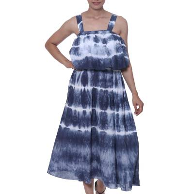 Tie-Dyed Striped Cotton Dress in Navy from India