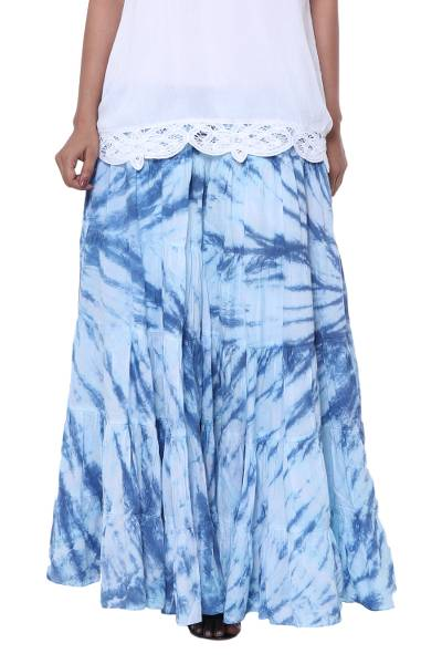 Tie-dyed cotton skirt, 'Azure Joy' - Tie-Dyed Cotton Skirt in Azure from India