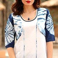 Tie-dyed cotton bolero, 'Indigo Burst' - Tie-Dyed Cotton Bolero Jacket in Indigo from India