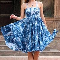 Tie-dyed cotton dress, 'Denim Ecstasy' - Tie-Dyed Cotton Dress in Denim from India