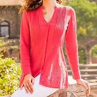 Cotton tunic, 'Pink Garden' - Hot Pink Hakoba Eyelet Lace Crinkle Cotton Tunic