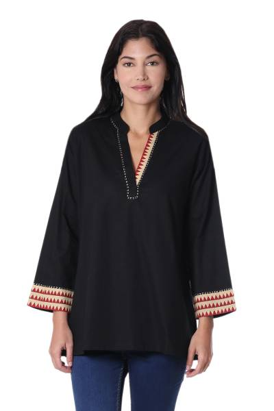 Cotton tunic, 'Indian Angles' - Cotton Tunic in Black with Geometric Accents from India