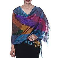 Ikat silk scarf, 'Ikat Taste' - Colorful Ikat Handwoven Silk Scarf from India