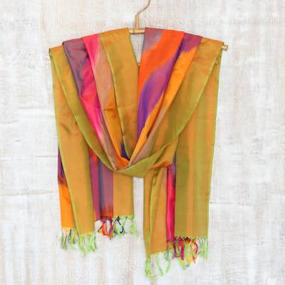 Ikat silk scarf, 'Ikat Glamour' - Handcrafted Ikat Tie-Dyed Silk Scarf from India