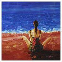 'A Sea of Reverie' - Expressionist Painting of a Woman at the Beach from India