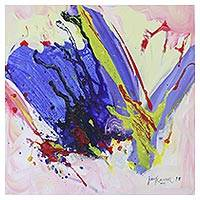 'Splash of Colors' - Signed Original Abstract Painting from India