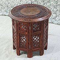 Wood accent table, 'Royal Relaxation' - Mango Wood Accent Table with Brass Inlay from India