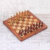 Wood travel chess set, 'Game of Kings' - Handmade Wood Travel Chess Set from India