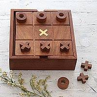 Wood 2-in-1 board game, 'Indoor Fun' - Wood and Glass 2-in-1 Board Game from India