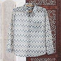 Men's cotton long sleeve shirt 'Ikat Stories' - India Ikat Print Blue Cotton Men's Shirt with Long Sleeves