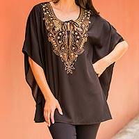 Beaded tunic, 'Mughal Treasure'  - India Hand Beaded Semi-Sheer Black Polyester Tunic Top