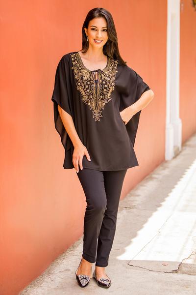 Beaded tunic, 'Mughal Treasure'  - India Hand Beaded Semi-Sheer Black Polyester Tunic Top