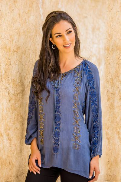 Beaded tunic blouse 'Jodhpur Blossom' - Embroidered Hand Beaded Blue Floral Tunic Top from India