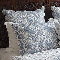 Cotton block print Euro pillow shams, 'Bombay Toile' (pair) - Hand Stitched Cotton Block Print Quilted Euro Shams (Pair)